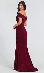 Image of long bridesmaid dress with off-the-shoulder collar. Style: KL-200016 Back Image