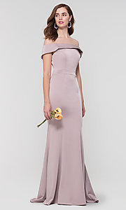 Image of long bridesmaid dress with off-the-shoulder collar. Style: KL-200016 Detail Image 6