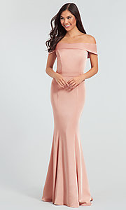 Image of long bridesmaid dress with off-the-shoulder collar. Style: KL-200016 Detail Image 3