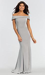 Image of long bridesmaid dress with off-the-shoulder collar. Style: KL-200016 Detail Image 7