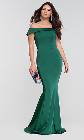 Long Bridesmaid Dress with Off-the-Shoulder Collar