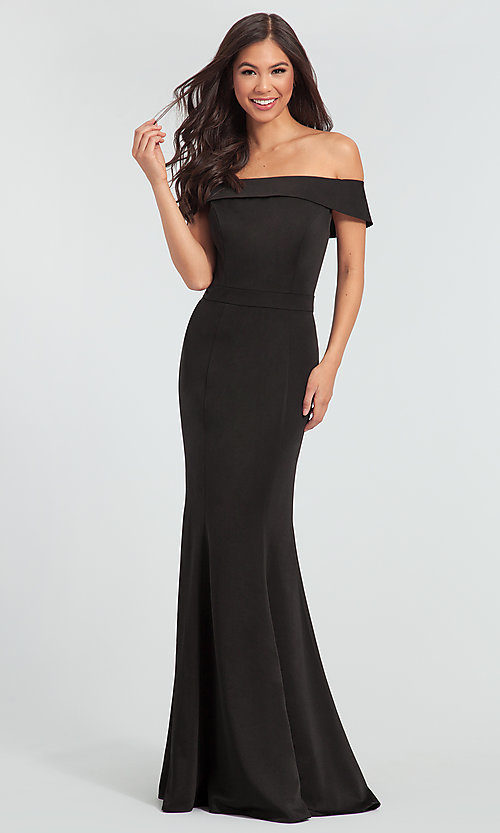 Image of long bridesmaid dress with off-the-shoulder collar. Style: KL-200016 Front Image