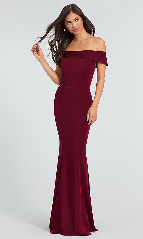 Image of long bridesmaid dress with off-the-shoulder collar. Style: KL-200016 Detail Image 1