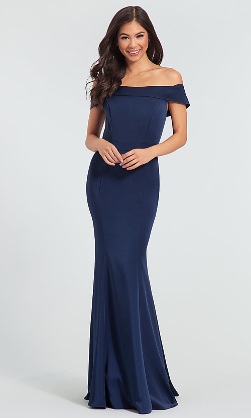 Image of long bridesmaid dress with off-the-shoulder collar. Style: KL-200016 Detail Image 4