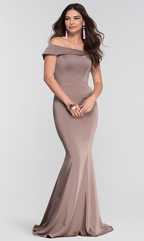 Image of long bridesmaid dress with off-the-shoulder collar. Style: KL-200016 Detail Image 8
