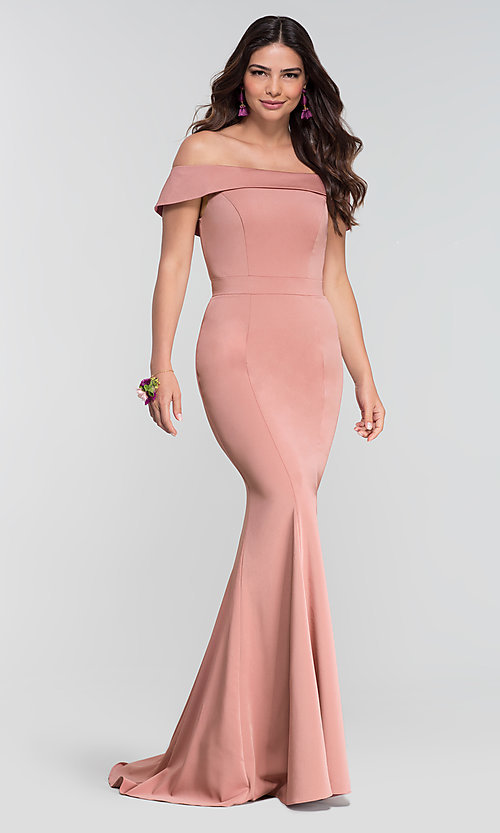Image of long bridesmaid dress with off-the-shoulder collar. Style: KL-200016 Detail Image 2