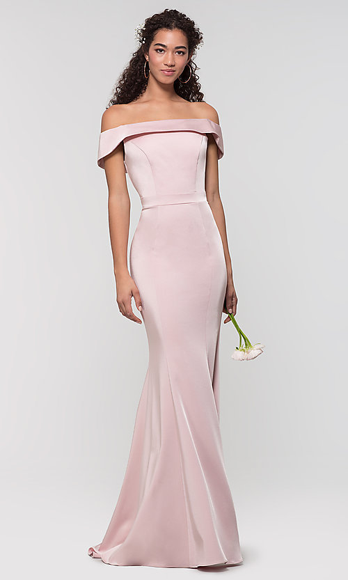 Image of long bridesmaid dress with off-the-shoulder collar. Style: KL-200016 Detail Image 5