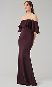 Image of stretch-satin bridesmaid long dress by Kleinfeld. Style: KL-200017 Detail Image 3