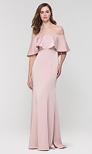 Image of stretch-satin bridesmaid long dress by Kleinfeld. Style: KL-200017 Detail Image 2