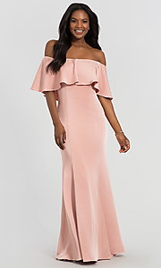 Image of stretch-satin bridesmaid long dress by Kleinfeld. Style: KL-200017 Detail Image 8