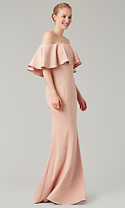 Image of stretch-satin bridesmaid long dress by Kleinfeld. Style: KL-200017 Detail Image 4