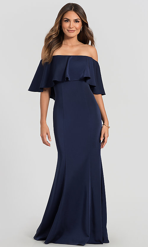 Image of stretch-satin bridesmaid long dress by Kleinfeld. Style: KL-200017 Detail Image 5