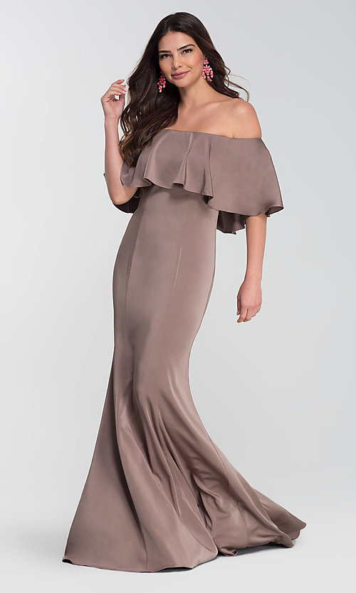 Image of stretch-satin bridesmaid long dress by Kleinfeld. Style: KL-200017 Detail Image 7