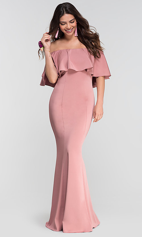 Image of stretch-satin bridesmaid long dress by Kleinfeld. Style: KL-200017 Detail Image 1