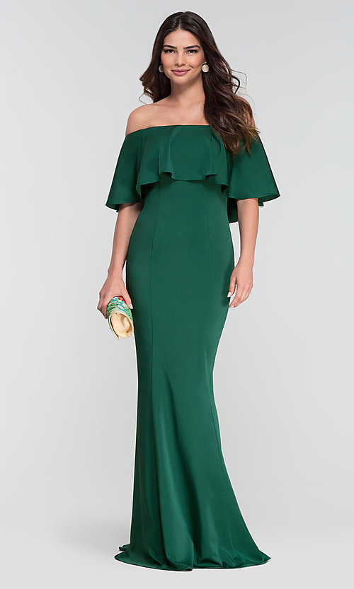 Image of stretch-satin bridesmaid long dress by Kleinfeld. Style: KL-200017 Detail Image 6