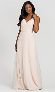 Image of simple long tulle formal bridesmaid dress. Style: KL-200008 Detail Image 4