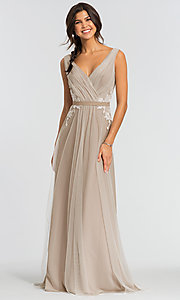 Image of simple long tulle formal bridesmaid dress. Style: KL-200008 Front Image