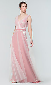 Image of simple long tulle formal bridesmaid dress. Style: KL-200008 Detail Image 6
