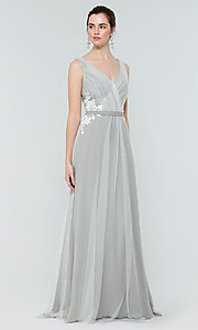 Image of simple long tulle formal bridesmaid dress. Style: KL-200008 Detail Image 7