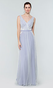 Image of simple long tulle formal bridesmaid dress. Style: KL-200008 Detail Image 8