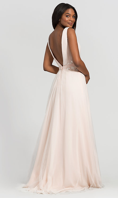 Image of simple long tulle formal bridesmaid dress. Style: KL-200008 Detail Image 5