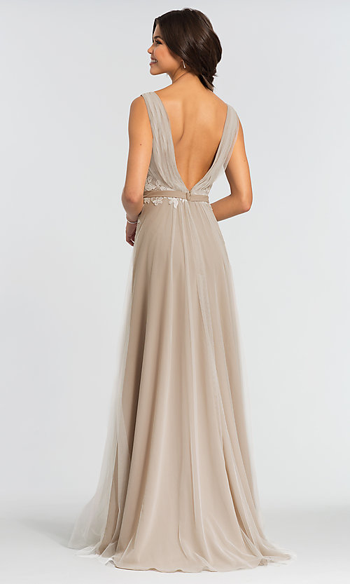 Image of simple long tulle formal bridesmaid dress. Style: KL-200008 Back Image