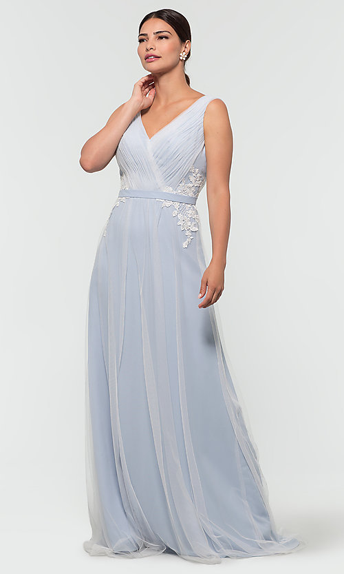 Image of simple long tulle formal bridesmaid dress. Style: KL-200008 Detail Image 3