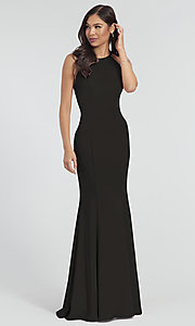 Image of simple long bridesmaid dress with bow. Style: KL-200019 Detail Image 2