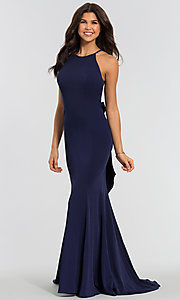 Image of simple long bridesmaid dress with bow. Style: KL-200019 Detail Image 4