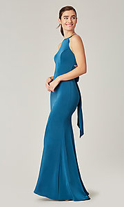 Image of simple long bridesmaid dress with bow. Style: KL-200019 Detail Image 1
