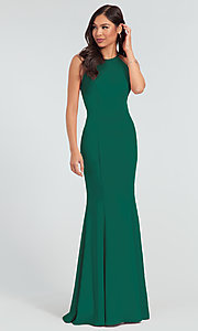 Image of simple long bridesmaid dress with bow. Style: KL-200019 Detail Image 5