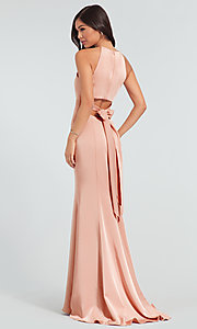 Image of simple long bridesmaid dress with bow. Style: KL-200019 Back Image