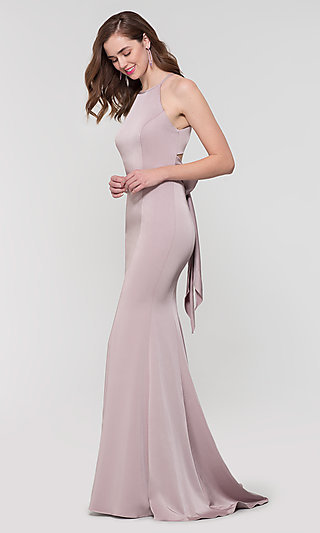 Simple Long Bridesmaid Dress With Bow
