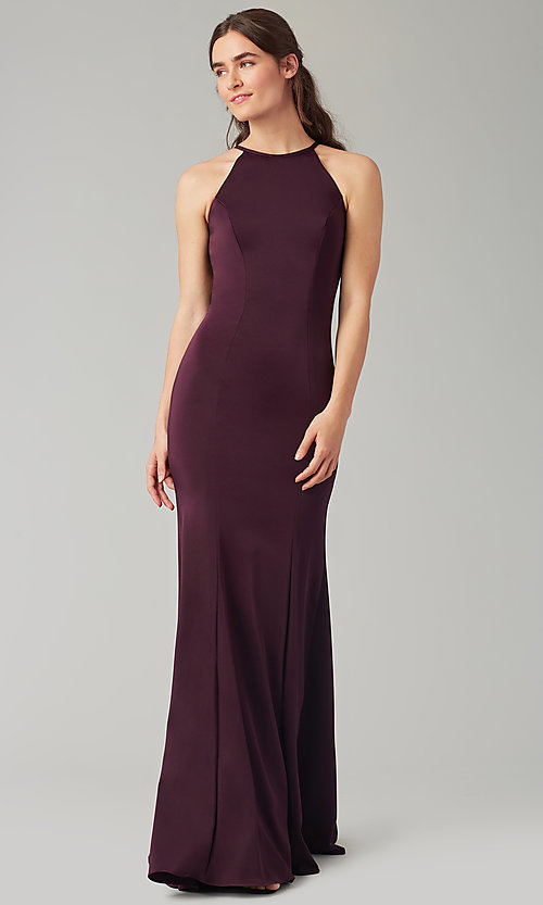 Image of simple long bridesmaid dress with bow. Style: KL-200019 Detail Image 7