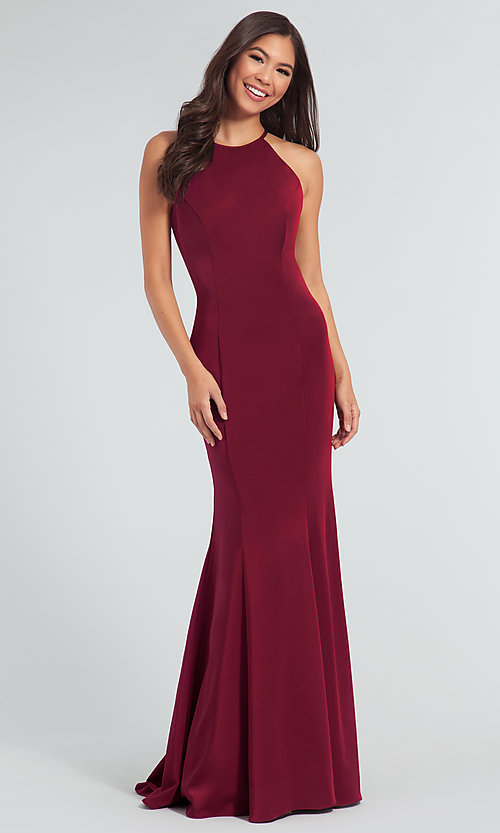 Image of simple long bridesmaid dress with bow. Style: KL-200019 Detail Image 8