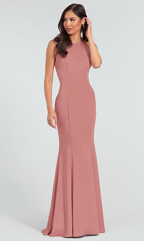 Image of simple long bridesmaid dress with bow. Style: KL-200019 Detail Image 3