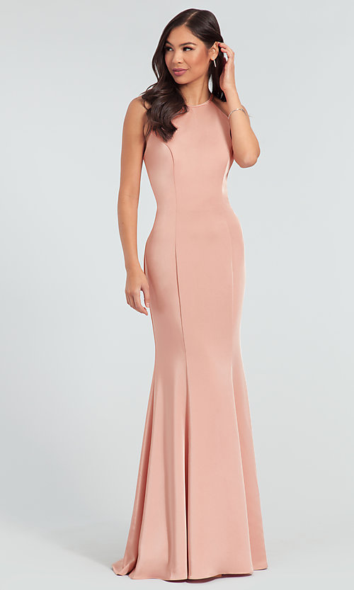 Image of simple long bridesmaid dress with bow. Style: KL-200019 Front Image