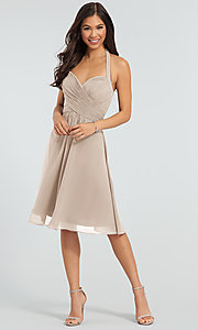 Image of Kleinfeld short chiffon halter bridesmaid dress. Style: KL-200045 Detail Image 8