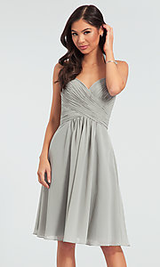 Image of Kleinfeld short chiffon halter bridesmaid dress. Style: KL-200045 Detail Image 6