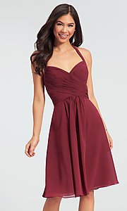 Image of Kleinfeld short chiffon halter bridesmaid dress. Style: KL-200045 Detail Image 1