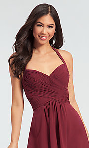 Image of Kleinfeld short chiffon halter bridesmaid dress. Style: KL-200045 Detail Image 2
