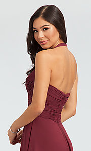 Image of Kleinfeld short chiffon halter bridesmaid dress. Style: KL-200045 Detail Image 3