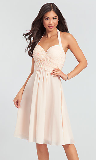 Kleinfeld Short Chiffon Halter Bridesmaid Dress