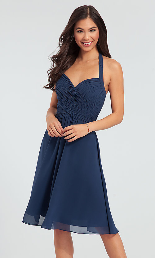 Image of Kleinfeld short chiffon halter bridesmaid dress. Style: KL-200045 Front Image