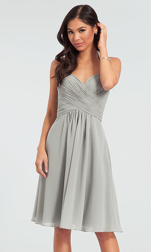 Image of Kleinfeld short chiffon halter bridesmaid dress. Style: KL-200045 Detail Image 4