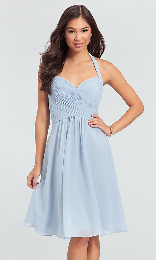 Image of Kleinfeld short chiffon halter bridesmaid dress. Style: KL-200045 Detail Image 5