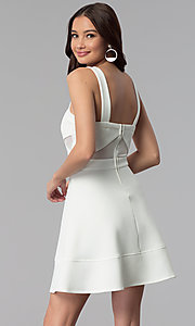 Image of ivory white a-line short party dress with cut outs. Style: EM-FLC-1003-120 Back Image