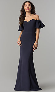 Image of ruffled-sleeve off-the-shoulder long prom dress. Style: LP-27335 Front Image