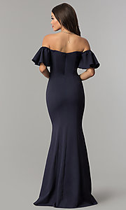 Image of ruffled-sleeve off-the-shoulder long prom dress. Style: LP-27335 Back Image