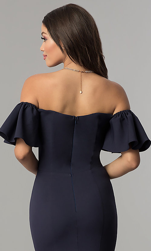 Image of ruffled-sleeve off-the-shoulder long prom dress. Style: LP-27335 Detail Image 2